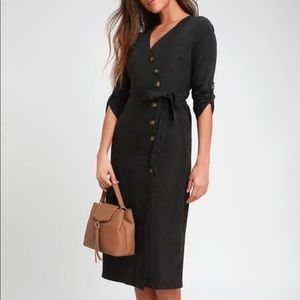 Lulus Pull Me Close Button-Up Midi Dress size M